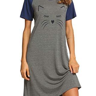 Ekouaer Women's Ladies Night Shirts Cotton Nightwear Loose Short Sleeve