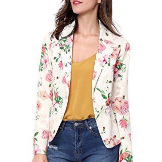 Allegra K Women's Floral Print Notched Lapel Open Front Blazer