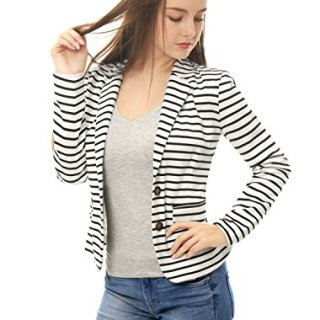 Allegra K Women's Notched Lapel Pocket Button Closure Striped Blazer White