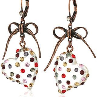"""Betsey Johnson """"Confetti"""" Mixed Multi-Colored Stone Lucite Heart Drop Earrings"""