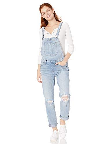 Silver Jeans Co. Women's Over It All Slim Leg Overalls, Light Fade Wash
