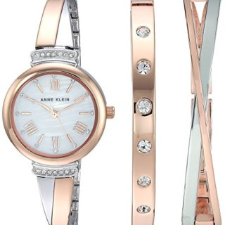 Anne Klein Women's Swarovski Crystal Accented Rose Gold-Tone