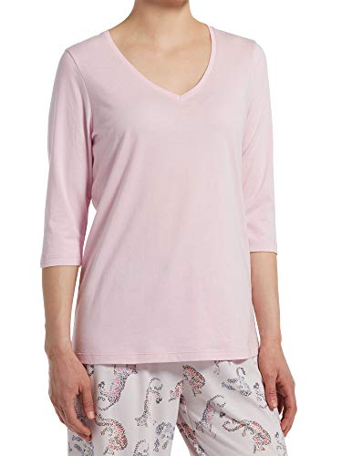 HUE Women's 3/4 Sleeve V-Neck Sleep Tee, Pink Lady