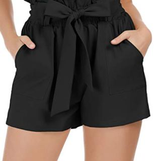 GRACE KARIN Women High Waist Summer Beach Casual Shorts M Black