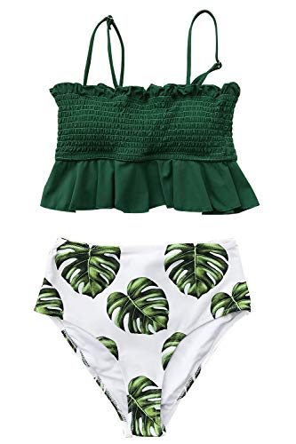 CUPSHE Women's Smocked Green and Monstera Ruffled High Waisted