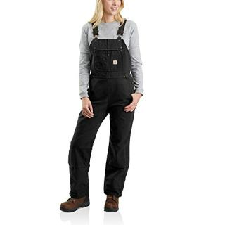 Carhartt Women's Quilt Lined Washed Duck Bib Overall, Black