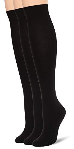 Hue Women's Flat Knit Knee Sock 3 Pack, New Black, One Size