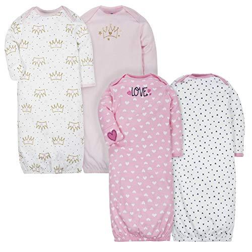 GERBER Baby Girls 4-Pack Gown, Fox/Princess