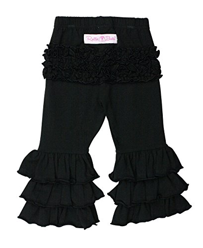 RuffleButts Baby/Toddler Girls Black Stretchy Flare Pants w/Elastic Waist