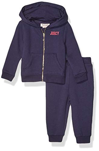 Juicy Couture Baby Girls 2 Pieces Hooded Jog Set, Navy