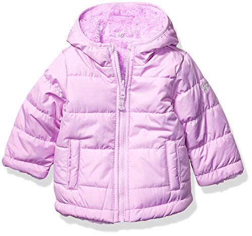 OshKosh B'Gosh Baby Girls Reversible Puffer Jacket Coat, Lilac to Cozy Lilac