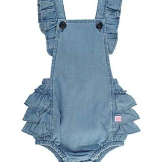 RuffleButts Baby/Toddler Girls Light Wash Denim Flutter Overall Romper