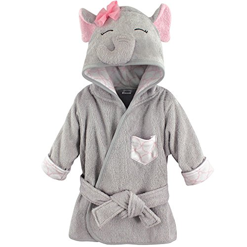 Hudson Baby Animal Face Hooded Bathrobe, Pretty Elephant