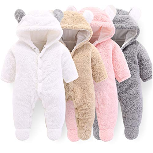 VNVNE Newborn Baby Cartoon Bear Snowsuit Warm Fleece Hooded Romper