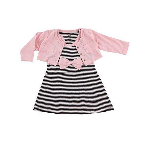 Hudson Baby Baby Girl Cotton Dress and Cardigan Set, Light Pink Black