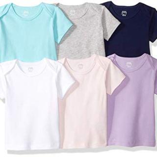 Amazon Essentials Baby 6-Pack Lap-Shoulder Tee, Solid Pink, Purple & Aqua