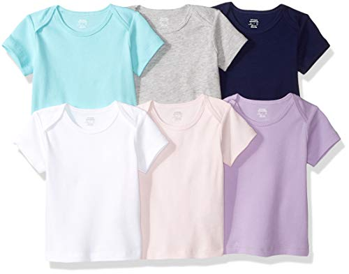 Amazon Essentials Baby 6-Pack Lap-Shoulder Tee, Solid Pink, Purple & Aqua