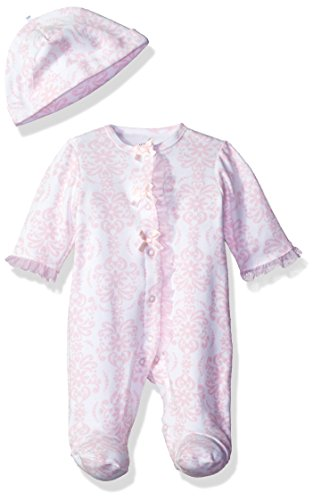 Little Me Baby-Girls Newborn Damask Scroll Footie and Hat, Pink/Multi
