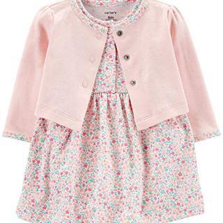 Carter's Baby Girls' 2-Piece Floral Bodysuit Dress & Cardigan Set