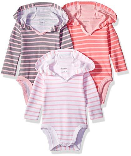 Hanes Ultimate Baby Flexy 3 Pack Hoodie Bodysuits, Pink Stripe
