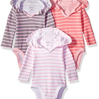 Hanes Ultimate Baby Flexy 3 Pack Hoodie Bodysuits, Pink Stripe