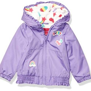LONDON FOG Baby Girls Floral Printed Fleece Lined Jacket, Electric Violet Neon