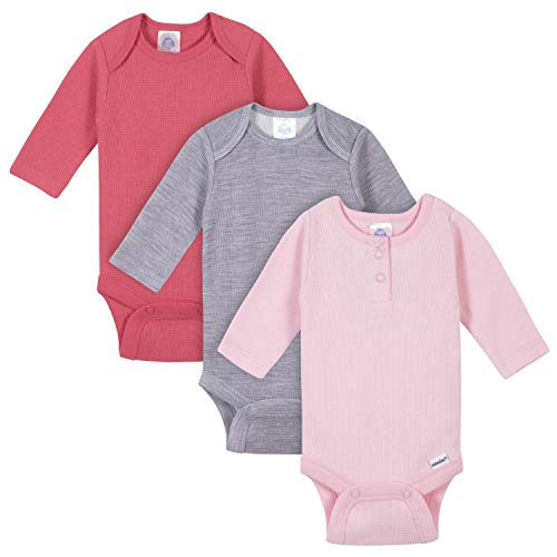 GERBER Baby Girls 3-Pack Long Sleeve Thermal Onesies Bodysuits