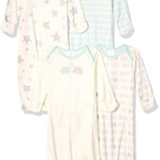 GERBER Baby 4-Pack Gown, Elephants