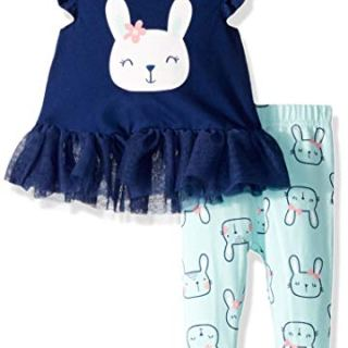 GERBER Baby Girls Tunic and Legging Set, Rabbit