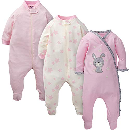GERBER Baby Girls' 3-Pack Organic Sleep 'N Play, Twinkle Bunny, Preemie