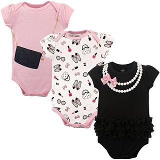 Little Treasure Unisex Baby Cotton Bodysuits, Pearls Short-Sleeve