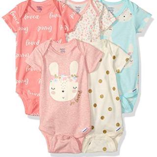 GERBER Baby Girls 5-Pack Organic Short-Sleeve Onesies Bodysuits