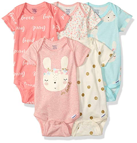 GERBER Baby Girls 5-Pack Organic Short-Sleeve Onesies Bodysuits