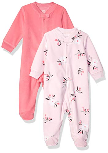 Amazon Essentials Baby Girl's 2-Pack Microfleece Sleep and Play