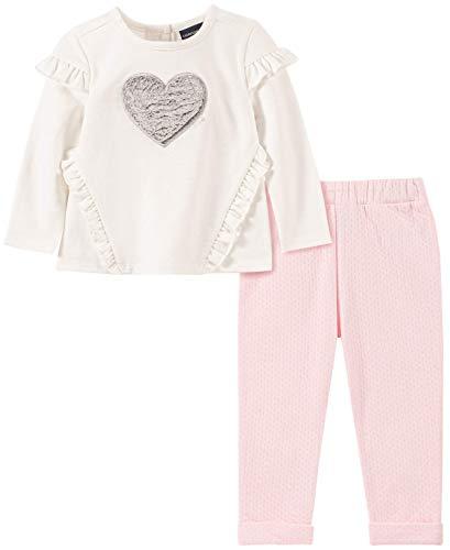 Calvin Klein Baby Girls 2 Pieces Pants Set, Vanilla/Frozen Petal