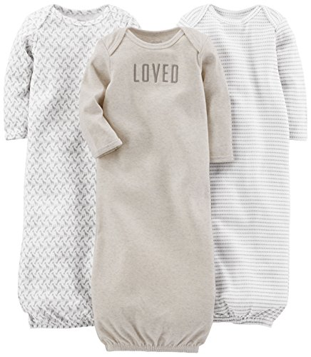 Simple Joys by Carter's Baby 3-Pack Neutral Cotton Sleeper Gown, Grey/White