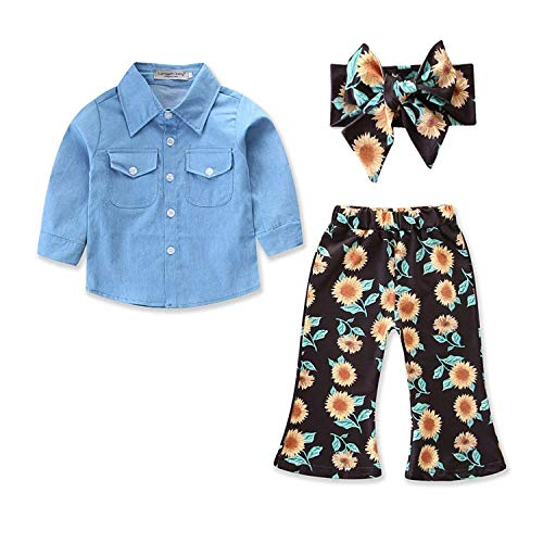 Kid Baby Girls Clothes Toddler Baby Girls Ruffle Sleeve T-Shirt Tops+Sunflower Pants