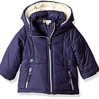 Jessica Simpson Baby Girls Satin Bubble Jacket, Navy