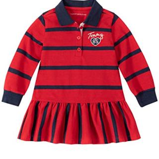 Tommy Hilfiger Baby Girls Dress, Red Navy Stripes
