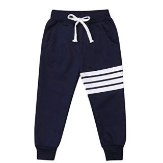 Baby Boys Girls Cotton Elastic Waist Sports Pants White Strips Print Unisex Baby