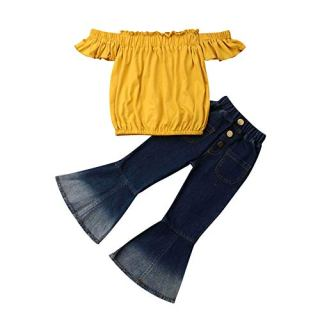 preetyyou Toddler Baby Girl Clothes Off Shoulder Tube Top Shirt Bell Bottom Jeans