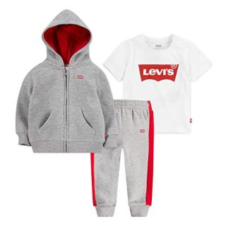Levi's Baby Boys Graphic T-Shirt, Hoodie and Joggers 3-Piece Outfit Set