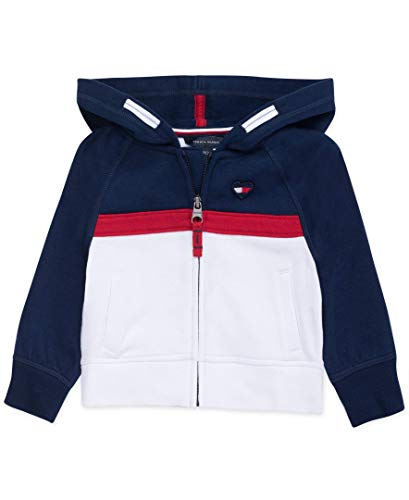 Tommy Hilfiger Baby Girls Full Zip Hoodie, Navy Block