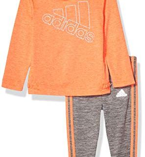 adidas Baby Girls Long Sleeve Hooded Top and Legging Set