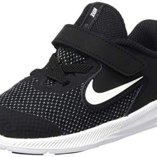 Nike Baby Kids Downshifter 9 Velcro Running Shoe, Black/White-Anthracite-Cool