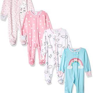 GERBER Baby Girls' 4-Pack Sleep N' Play, Cloudy