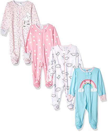 GERBER Baby Girls' 4-Pack Sleep N' Play, Cloudy