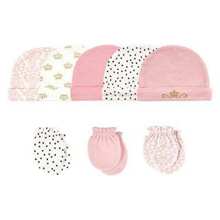 Hudson Baby Unisex Baby Cotton Cap and Scratch Mitten Set, Crown