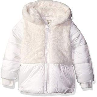 Jessica Simpson Baby Girls Satin Peplum Puffer Jacket, Ivory