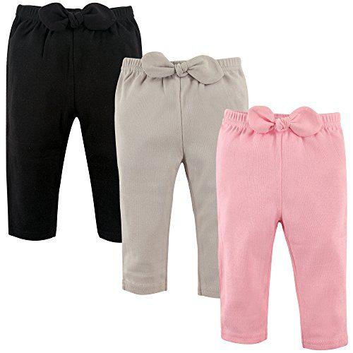 Hudson Baby Unisex Baby Cotton Pants, Light Pink Black